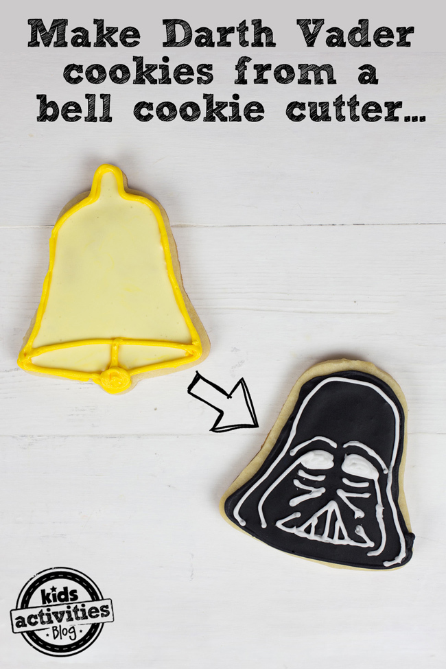 Make Darth Vader cookies to bell cookie cutters
