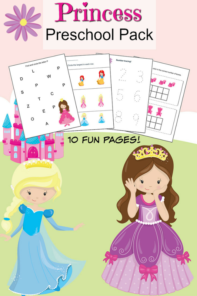 graphic about Princess Printable named Princess Preschool Printable Worksheet Pack