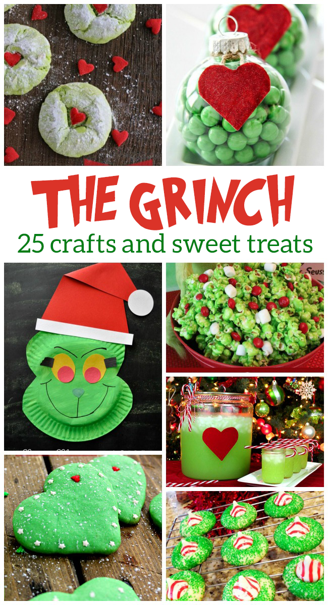 Grinch crafts that include grinch ornaments diy, grinch cookies, and grinch snack mix.