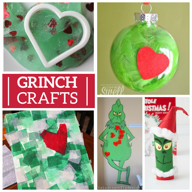 how the grinch stole christmas activities with a diy grinch card, grinch ornaments diy, grinch slime, and pin the heart on the grinch.