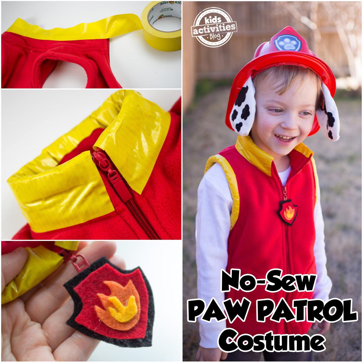 No Sew Paw Patrol Marshall Costume
