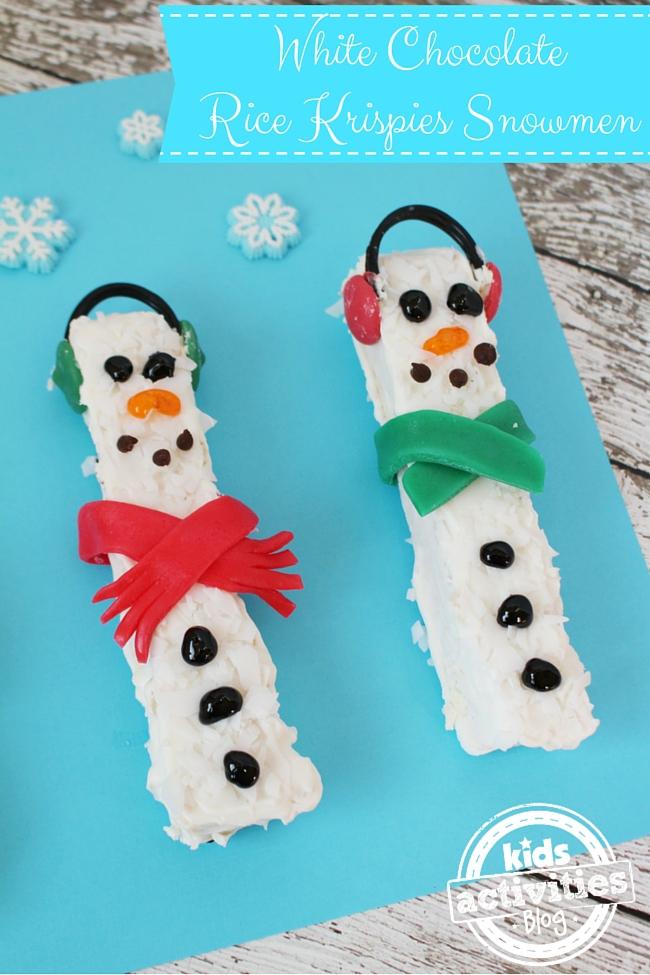 White Chocolate Rice Krispies Snowmen