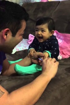 Every time dad tries to cut her nails, this baby does THIS…