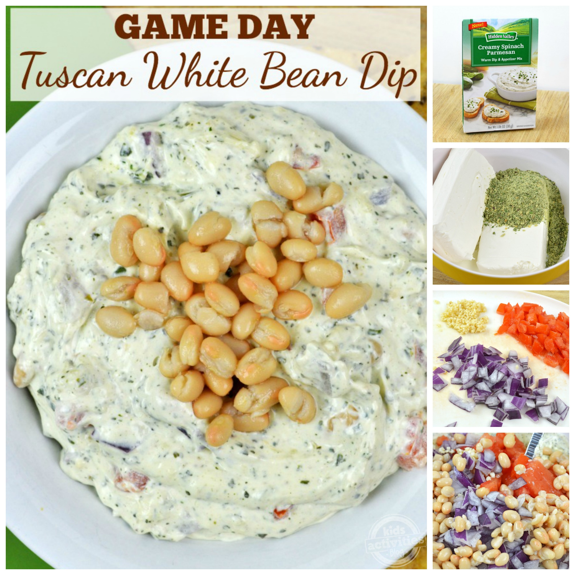 game day tuscan white bean dip collage