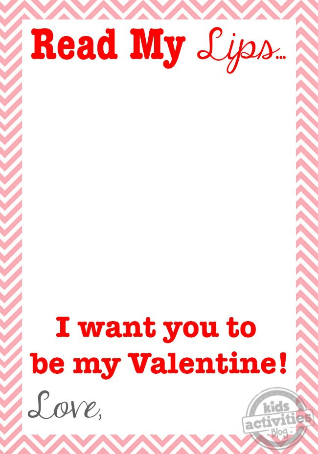 Read My Lips Valentine + Free Printable