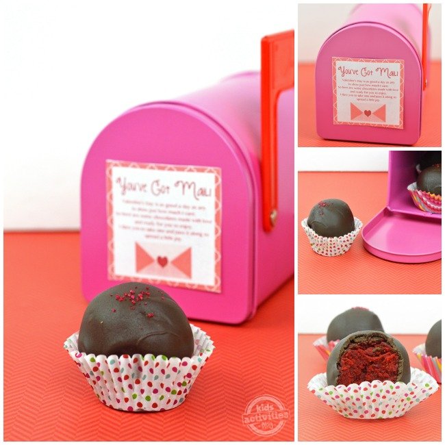red velvet cake balls collage