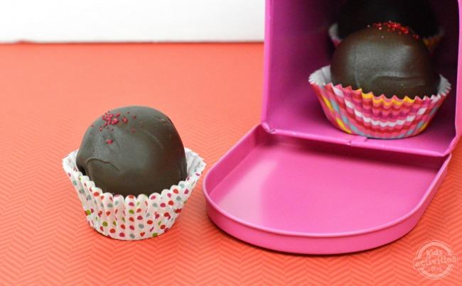 red velvet cake balls in mailbox