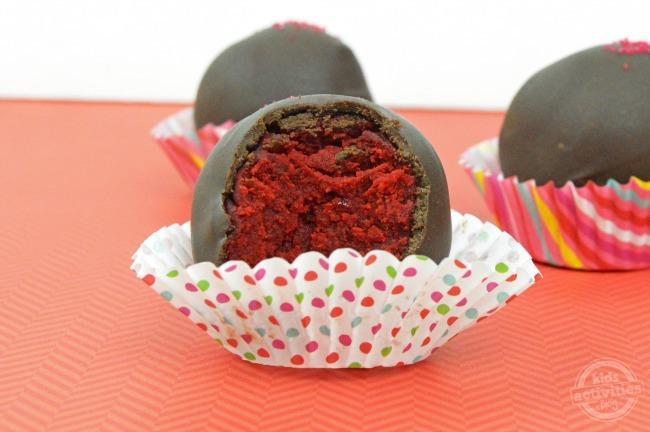 red velvet cake balls inside