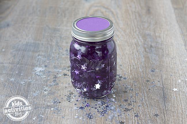 Kids crafts glitter jar