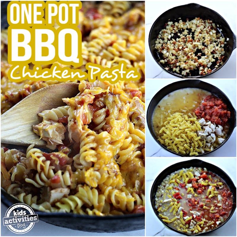 One Pot BBQ Chicken Pasta Collage