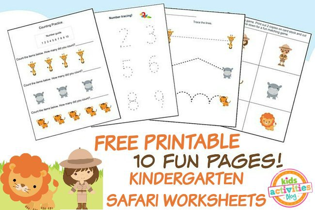 ... to download and print: Safari Printable Kindergarten Worksheet Pack