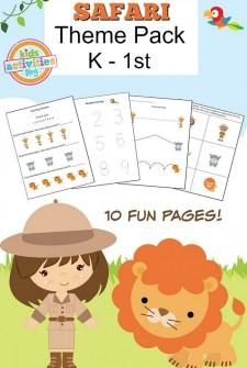 Safari Printable Kindergarten Worksheet Pack