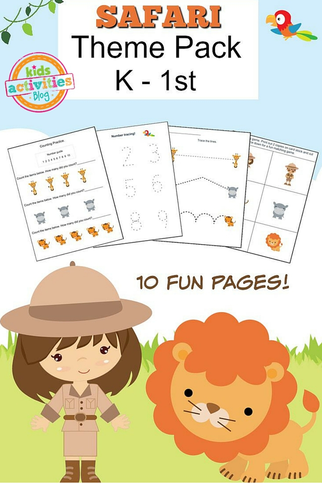 Safari Printable Kindergarten Worksheet Pack – Kindergarten Activities Printable Worksheets