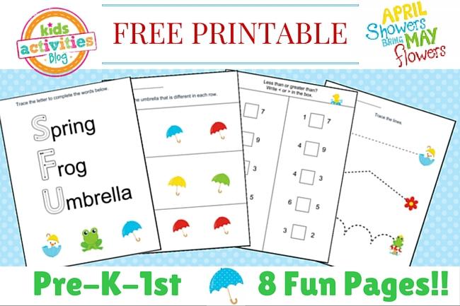 Number Names Worksheets spring worksheets for preschoolers : Spring Printable Kindergarten Worksheet Pack