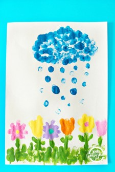 April Showers Bring May Fingerprint Flowers Craft