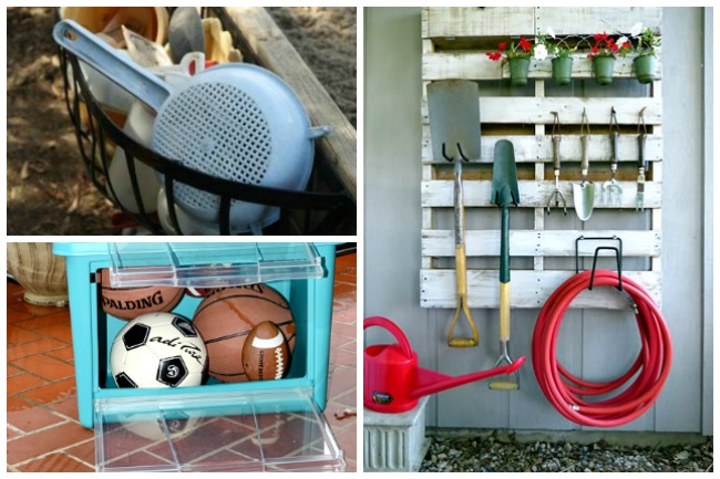 Organize your back yard with baskets, bins, and a wall shelf with hooks.