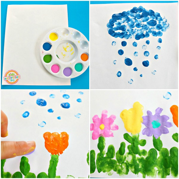April Showers Bring May Flowers Fingerprint Craft To Make This Spring