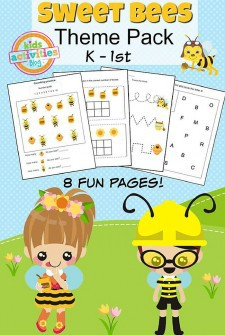 Sweet Bees Printable Kindergarten Worksheet Pack