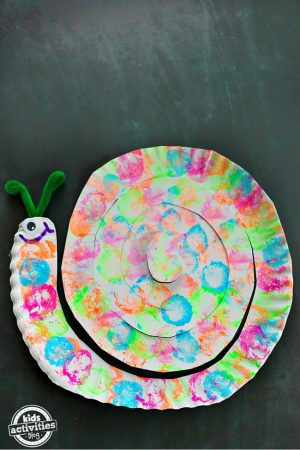 Cotton Ball Painted Snail Paper Plate Craft - fi
