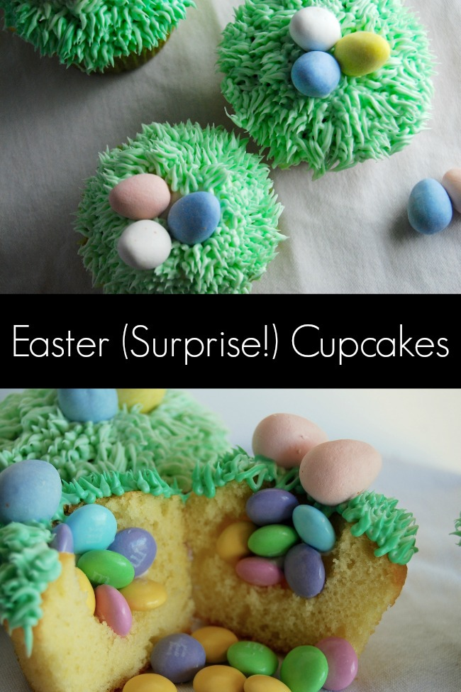 DIY Easter treats, candy filled cupcakes with green frosting and chocolate eggs
