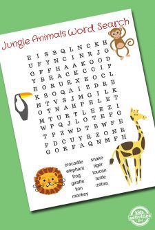 Jungle Animals Word Search Printable
