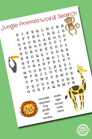 Jungle Animals Word Search Featured