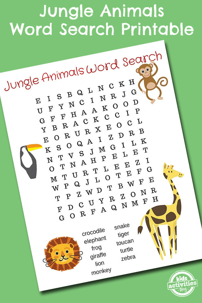 photo regarding Animal Printable referred to as Jungle Pets Phrase Glance Printable