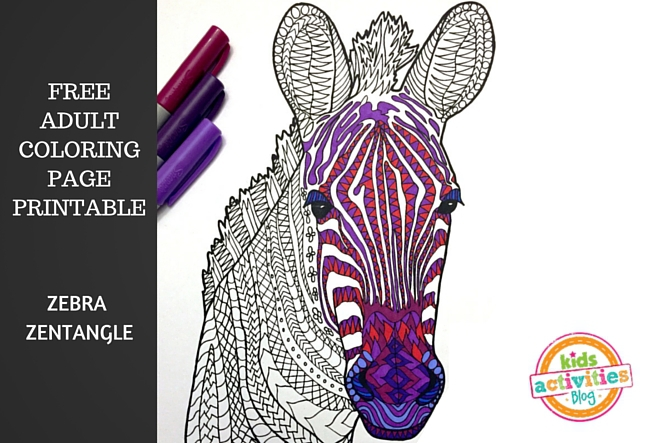 Printable Adult Coloring Page Zebra Zentangle