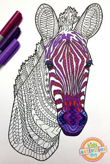 Coloring Pages for Kids – Zebra Zentangle