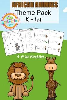 African Animals Printable Kindergarten Worksheet Pack