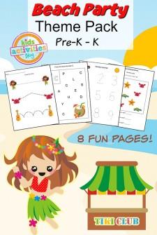 Beach Party Printable Preschool Worksheet Pack