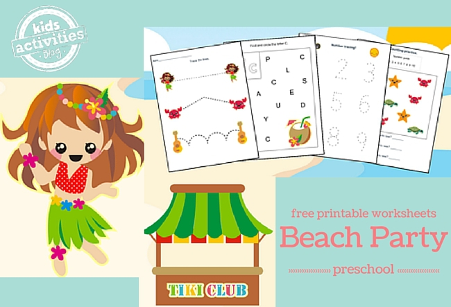 Beach Party Printable Preschool Worksheet Pack