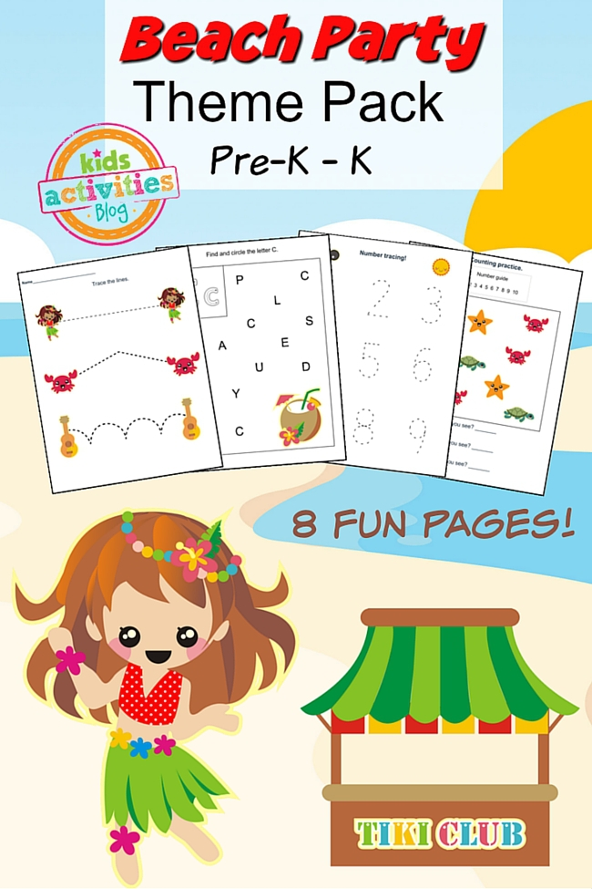 beach party printable preschool worksheet pack. Black Bedroom Furniture Sets. Home Design Ideas
