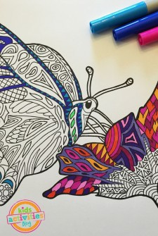 Coloring Pages for Kids – Butterfly on Flower Zentangle