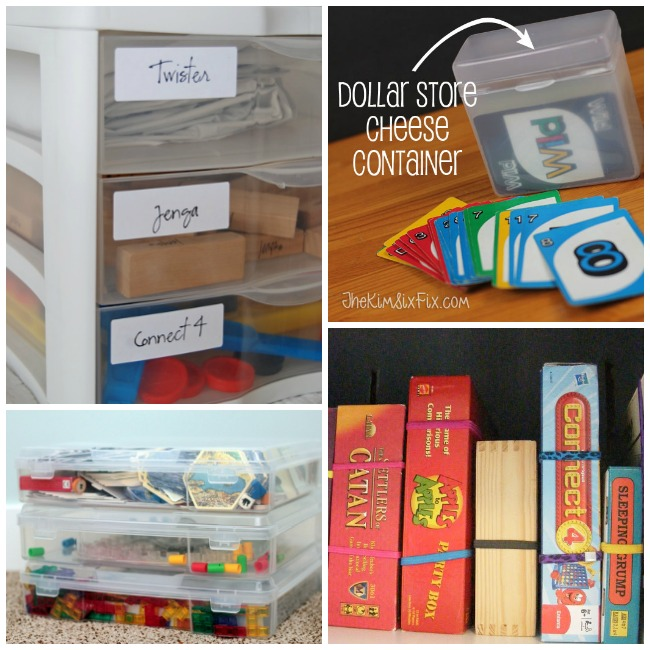 Board game storage using plastic drawers, cheese holder from the dollar tree, scrap book containers, and head bands to keep the lids on your board games.