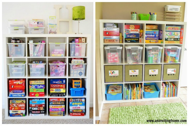board game ideas to keep them organized in cubbies with plastic containers and tubs