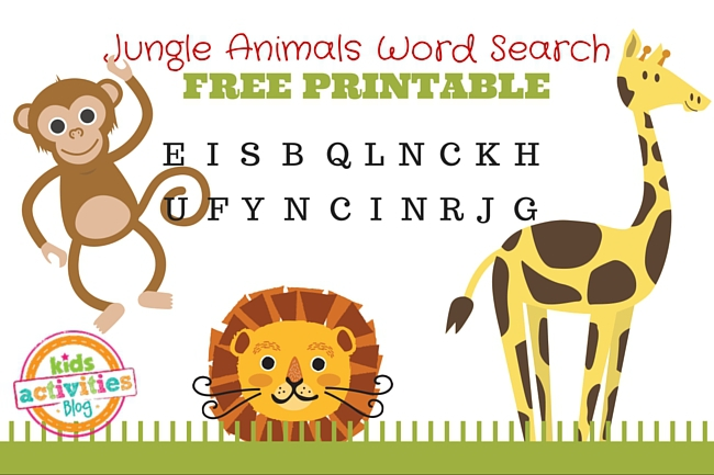 graphic relating to Free Printable Jungle Animals called Jungle Pets Term Glance Printable
