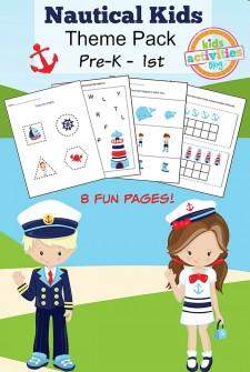 Nautical Kids Printable Kindergarten Worksheet Pack