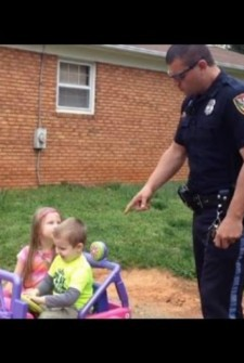 This police officer 'pulls over' children on toy car, gets funniest reaction EVER!
