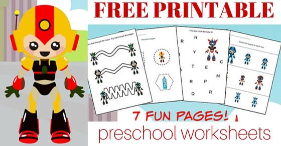 Robot Printable Preschool Worksheet Pack