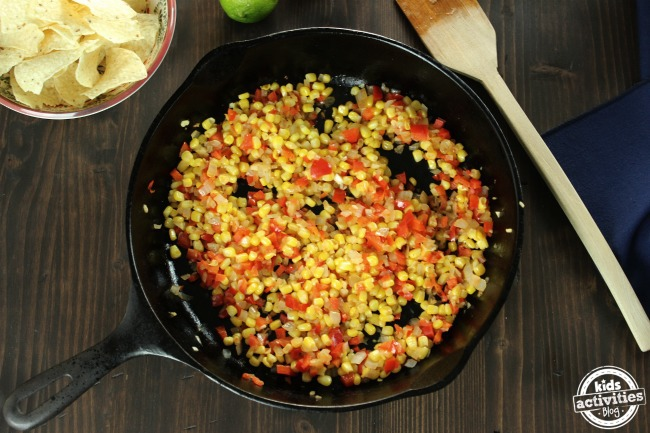 One Pan Queso Corn Dip