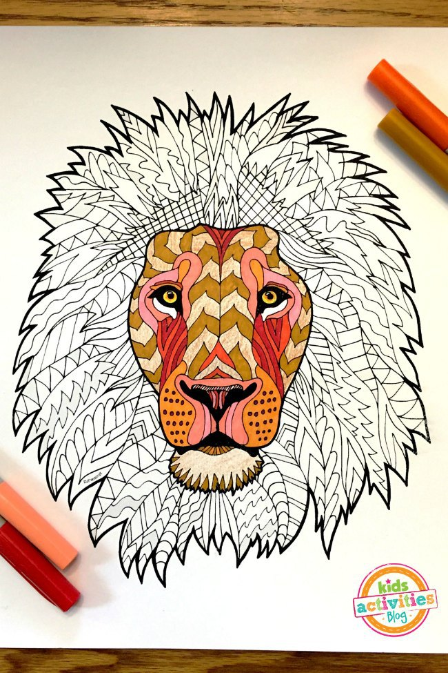 "Coloring Pages for Kids "" Lion Zentangle"