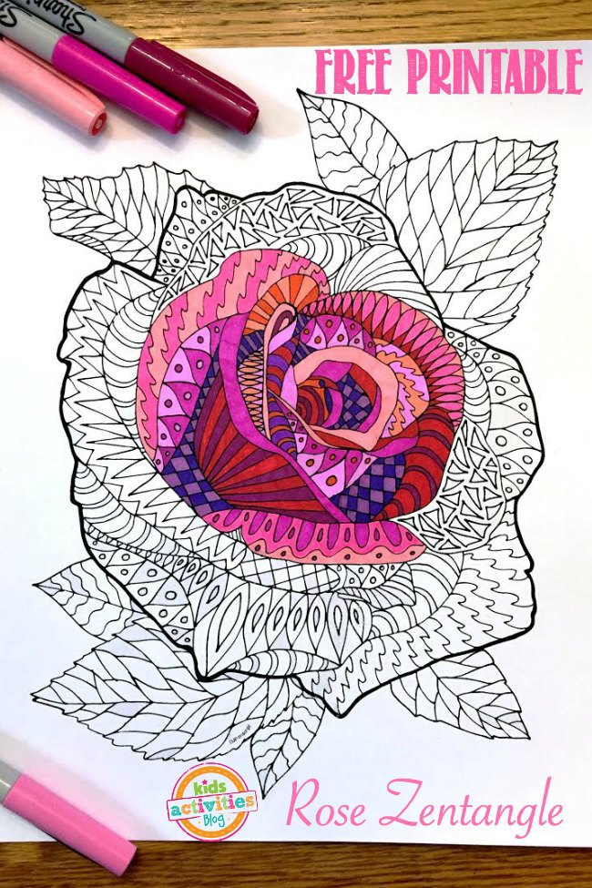 Printable Adult Coloring Page Rose Zentangle Dallas Single Parents