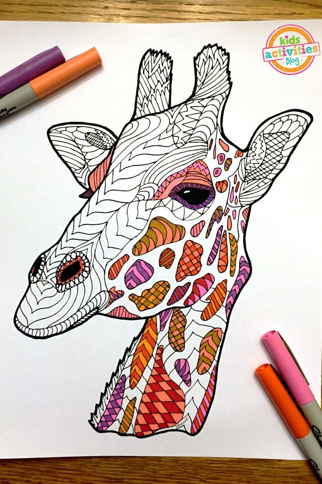 Coloring Pages for Kids - Giraffe Zentangle