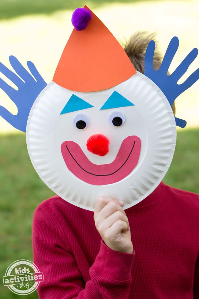 Paper plate clowns for Mask craft for kids