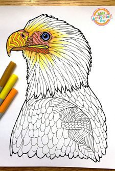 Coloring Pages For Kids – Bald Eagle Zentangle