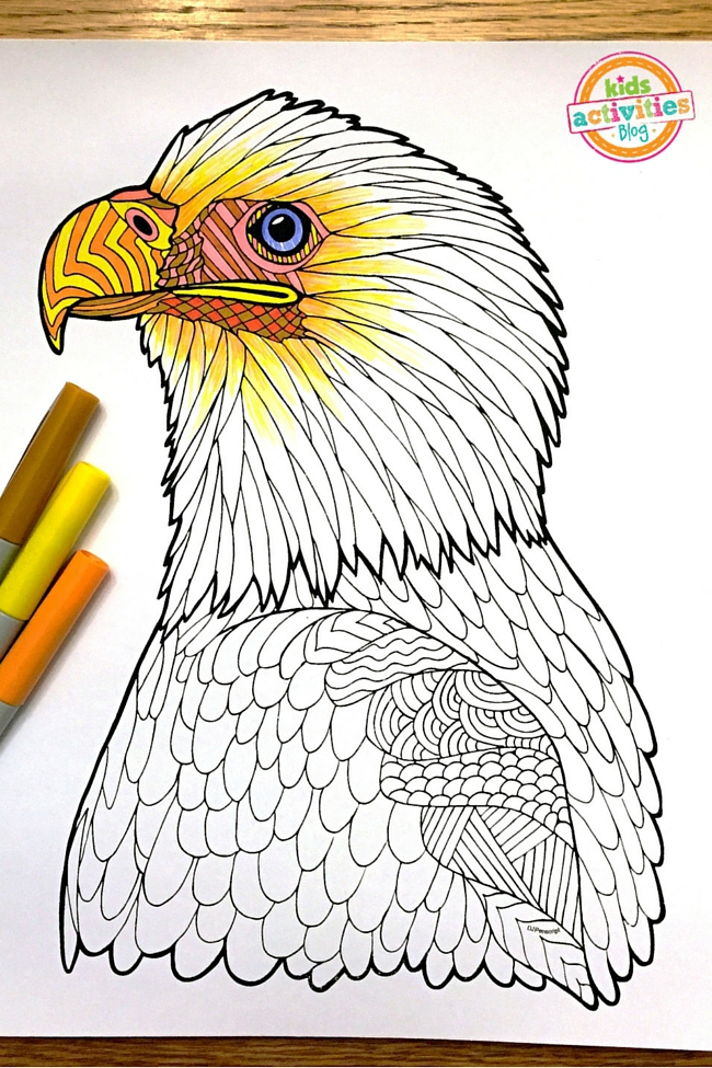 Coloring Pages For Kids - Bald Eagle Zentangle