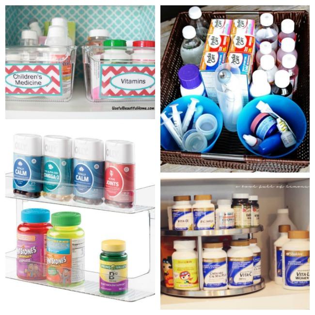 Medicine cabinet ideas like a shelf, lazy susan, baskets, and buckets