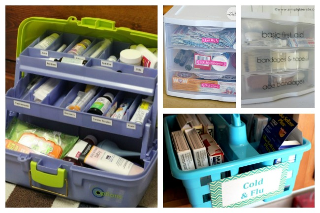 medicine storage using a tackle box, cleaning carrier, and clear plastic drawers