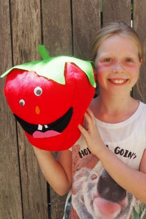kids sewing strawberry softie
